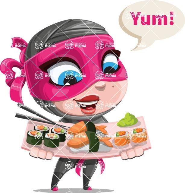 Cute Ninja Girl Cartoon Vector Character AKA Hiroka - Food 2