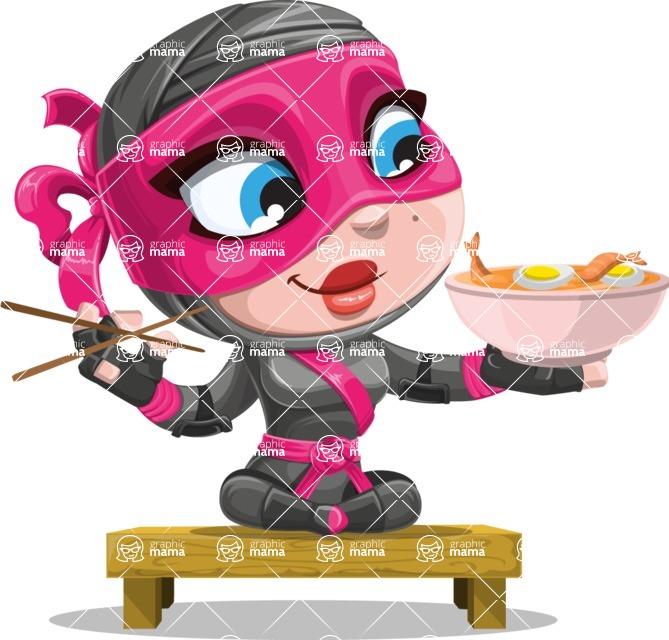 Cute Ninja Girl Cartoon Vector Character AKA Hiroka - Food 3