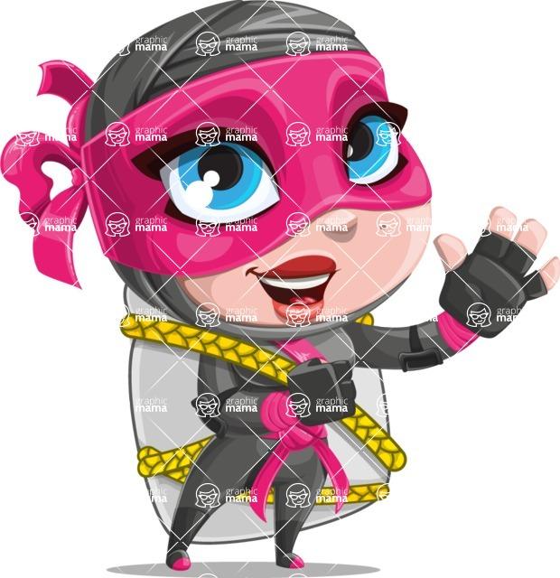 Cute Ninja Girl Cartoon Vector Character AKA Hiroka - Travel