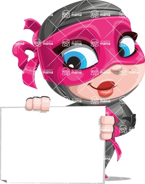 Cute Ninja Girl Cartoon Vector Character AKA Hiroka - Sign 3