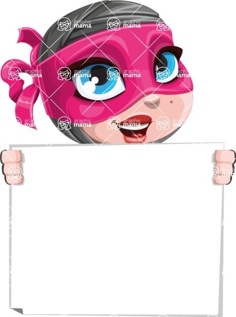 Cute Ninja Girl Cartoon Vector Character AKA Hiroka - Sign 5