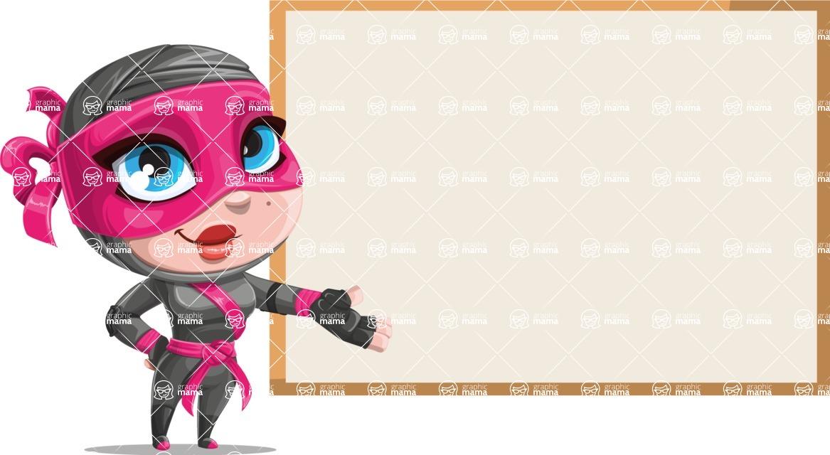 Cute Ninja Girl Cartoon Vector Character AKA Hiroka - Presentation 2
