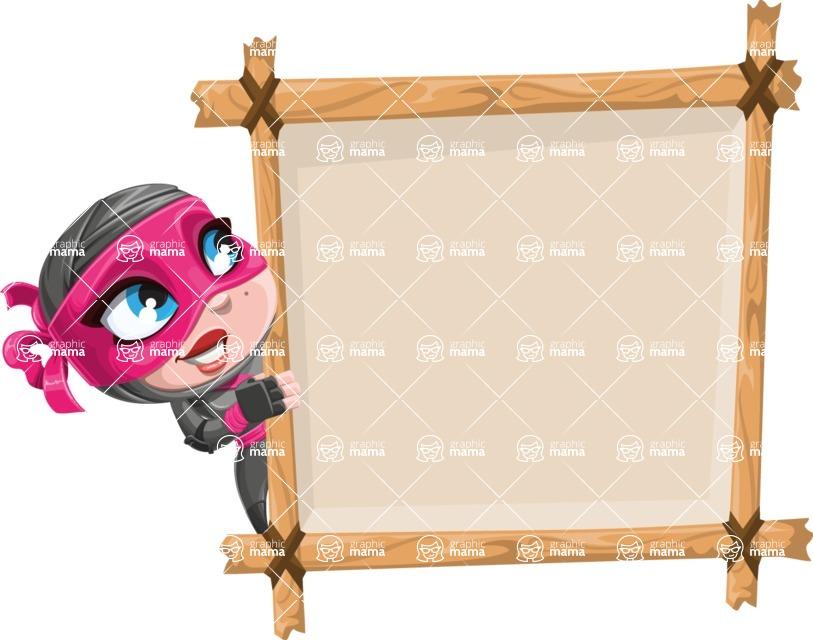 Cute Ninja Girl Cartoon Vector Character AKA Hiroka - Presentation 5