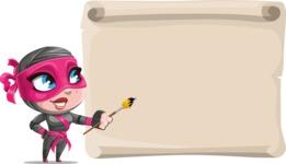 Cute Ninja Girl Cartoon Vector Character AKA Hiroka - Presentation 7