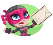 Cute Ninja Girl Cartoon Vector Character AKA Hiroka - Shape 3