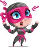 Cute Ninja Girl Cartoon Vector Character AKA Hiroka - Shocked