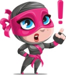 Cute Ninja Girl Cartoon Vector Character AKA Hiroka - Attention