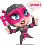 Cute Ninja Girl Cartoon Vector Character AKA Hiroka - Thumbs Up