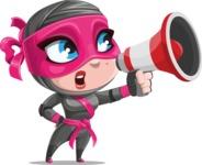 Cute Ninja Girl Cartoon Vector Character AKA Hiroka - Loudspeaker