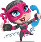 Cute Ninja Girl Cartoon Vector Character AKA Hiroka - Support 2