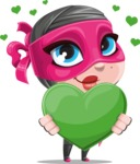 Cute Ninja Girl Cartoon Vector Character AKA Hiroka - Love