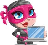 Cute Ninja Girl Cartoon Vector Character AKA Hiroka - Laptop 1