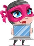 Cute Ninja Girl Cartoon Vector Character AKA Hiroka - Laptop 3