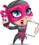 Cute Ninja Girl Cartoon Vector Character AKA Hiroka - Note 3