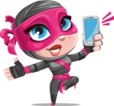 Cute Ninja Girl Cartoon Vector Character AKA Hiroka - Smartphone