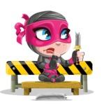 Cute Ninja Girl Cartoon Vector Character AKA Hiroka - Under Construction 2