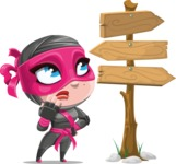Cute Ninja Girl Cartoon Vector Character AKA Hiroka - Crossroads