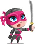 Cute Ninja Girl Cartoon Vector Character AKA Hiroka - Determination