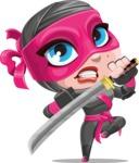 Cute Ninja Girl Cartoon Vector Character AKA Hiroka - Protect