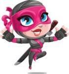 Cute Ninja Girl Cartoon Vector Character AKA Hiroka - Jump