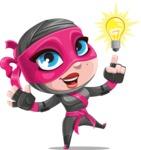 Cute Ninja Girl Cartoon Vector Character AKA Hiroka - Idea