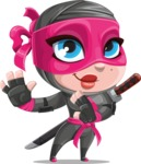 Cute Ninja Girl Cartoon Vector Character AKA Hiroka - Sneak Attack