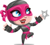 Cute Ninja Girl Cartoon Vector Character AKA Hiroka - Shuriken Attack