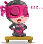 Cute Ninja Girl Cartoon Vector Character AKA Hiroka - Rest