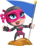 Cute Ninja Girl Cartoon Vector Character AKA Hiroka - On the Top