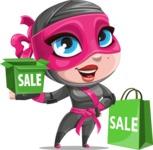Cute Ninja Girl Cartoon Vector Character AKA Hiroka - Sale 2