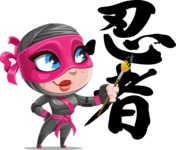 Cute Ninja Girl Cartoon Vector Character AKA Hiroka - Creativity