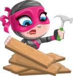 Cute Ninja Girl Cartoon Vector Character AKA Hiroka - Repair