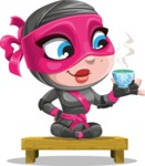 Cute Ninja Girl Cartoon Vector Character AKA Hiroka - Tea