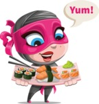 Cute Ninja Girl Cartoon Vector Character AKA Hiroka - Food 2
