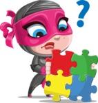 Cute Ninja Girl Cartoon Vector Character AKA Hiroka - Puzzle