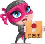 Cute Ninja Girl Cartoon Vector Character AKA Hiroka - Delivery 1