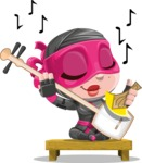 Cute Ninja Girl Cartoon Vector Character AKA Hiroka - Music