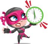 Cute Ninja Girl Cartoon Vector Character AKA Hiroka - Time is up