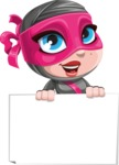 Cute Ninja Girl Cartoon Vector Character AKA Hiroka - Sign 4