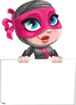 Cute Ninja Girl Cartoon Vector Character AKA Hiroka - Sign 6