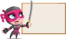Cute Ninja Girl Cartoon Vector Character AKA Hiroka - Presentation 1