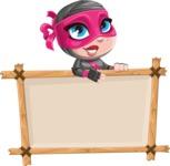 Cute Ninja Girl Cartoon Vector Character AKA Hiroka - Presentation 3