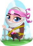 Girl with Ninja Mask Cartoon Vector Character AKA Matsuko - Shape 6