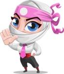 Girl with Ninja Mask Cartoon Vector Character AKA Matsuko - Stop 2