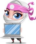 Girl with Ninja Mask Cartoon Vector Character AKA Matsuko - Laptop 3