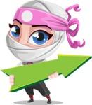 Girl with Ninja Mask Cartoon Vector Character AKA Matsuko - Pointer 1