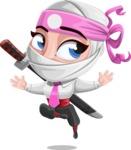 Girl with Ninja Mask Cartoon Vector Character AKA Matsuko - Jump