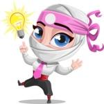 Girl with Ninja Mask Cartoon Vector Character AKA Matsuko - Idea