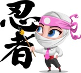 Girl with Ninja Mask Cartoon Vector Character AKA Matsuko - Creativity