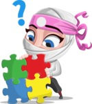 Girl with Ninja Mask Cartoon Vector Character AKA Matsuko - Puzzle